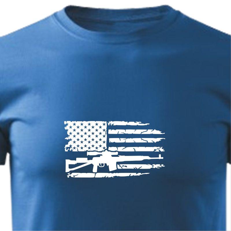 Tričko pánské s potiskem USA Flag Gun bd4e2cc940