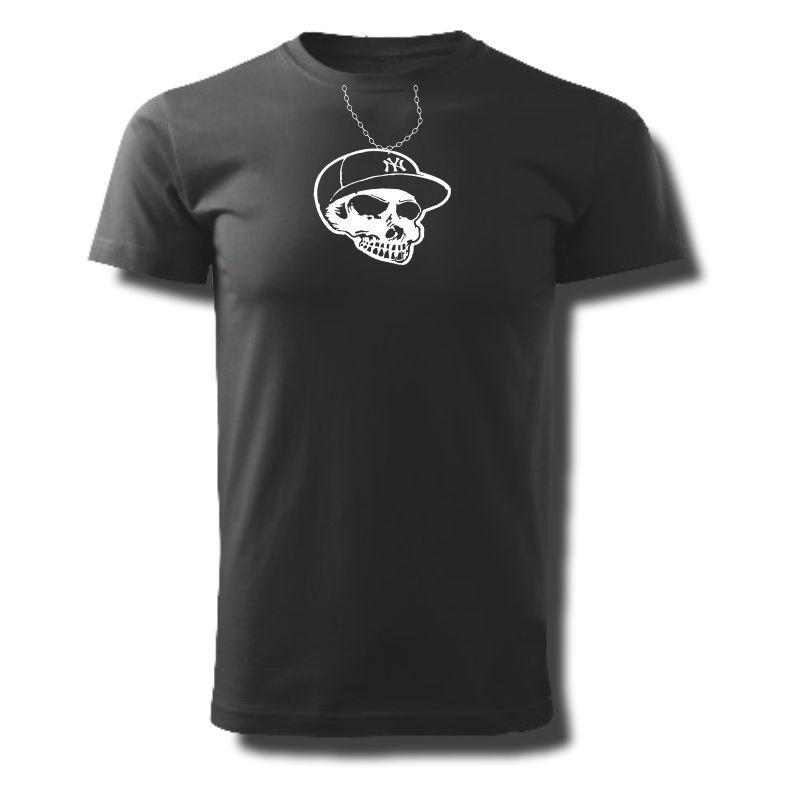 Tričko pánské s potiskem Lebka přívěsek NY